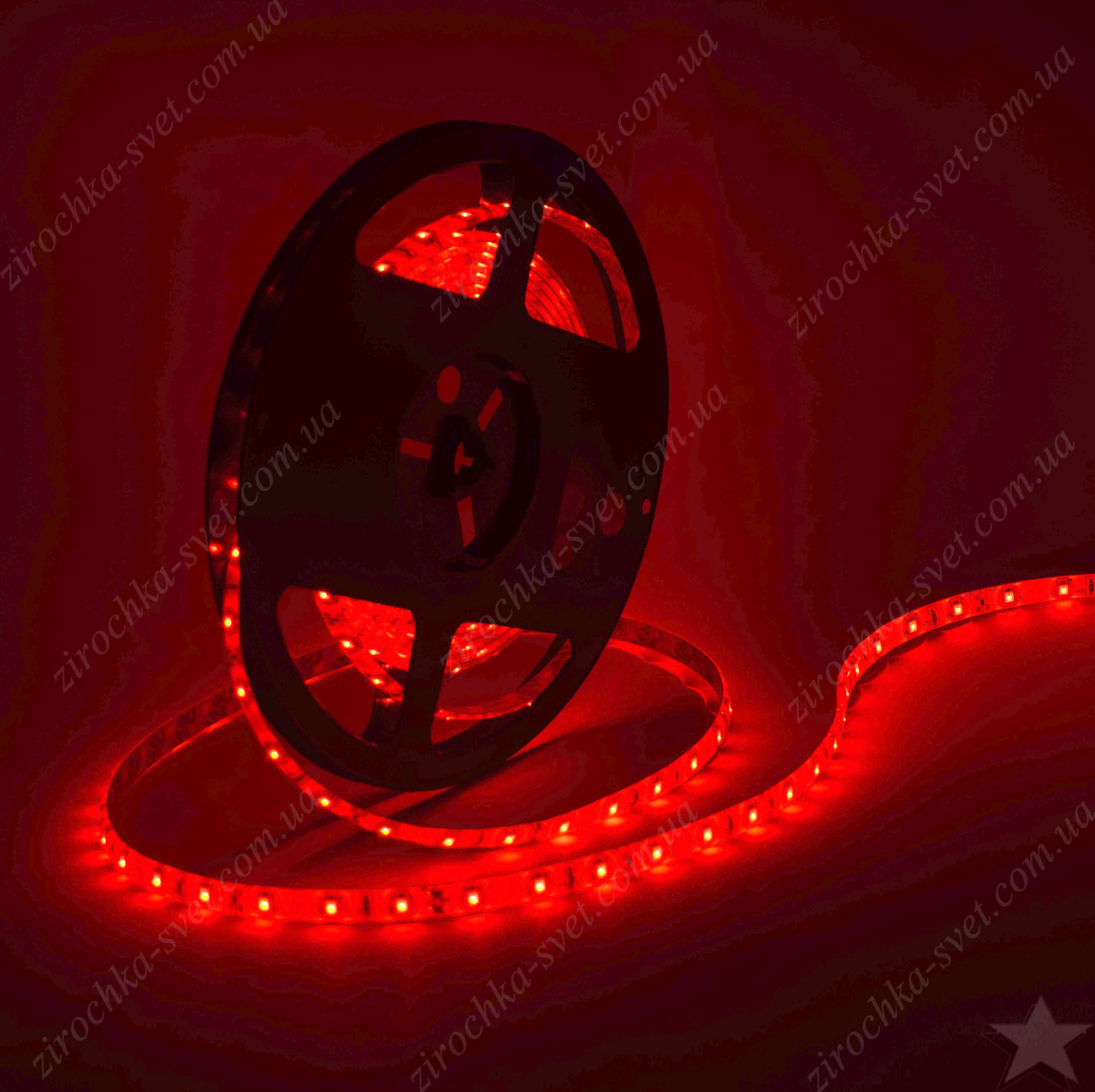 Светодиодная лента красная 12в 60шт/м smd3528 IP65 влагозащищенная (в силиконе) 4,8 Вт/м Motoko