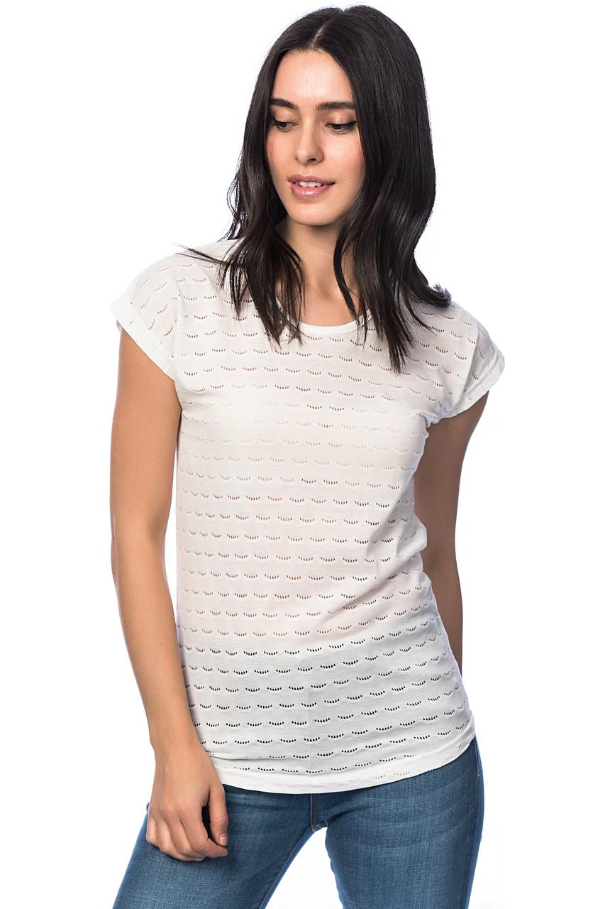 Белая женская футболка HAPPINESS с перфорацией