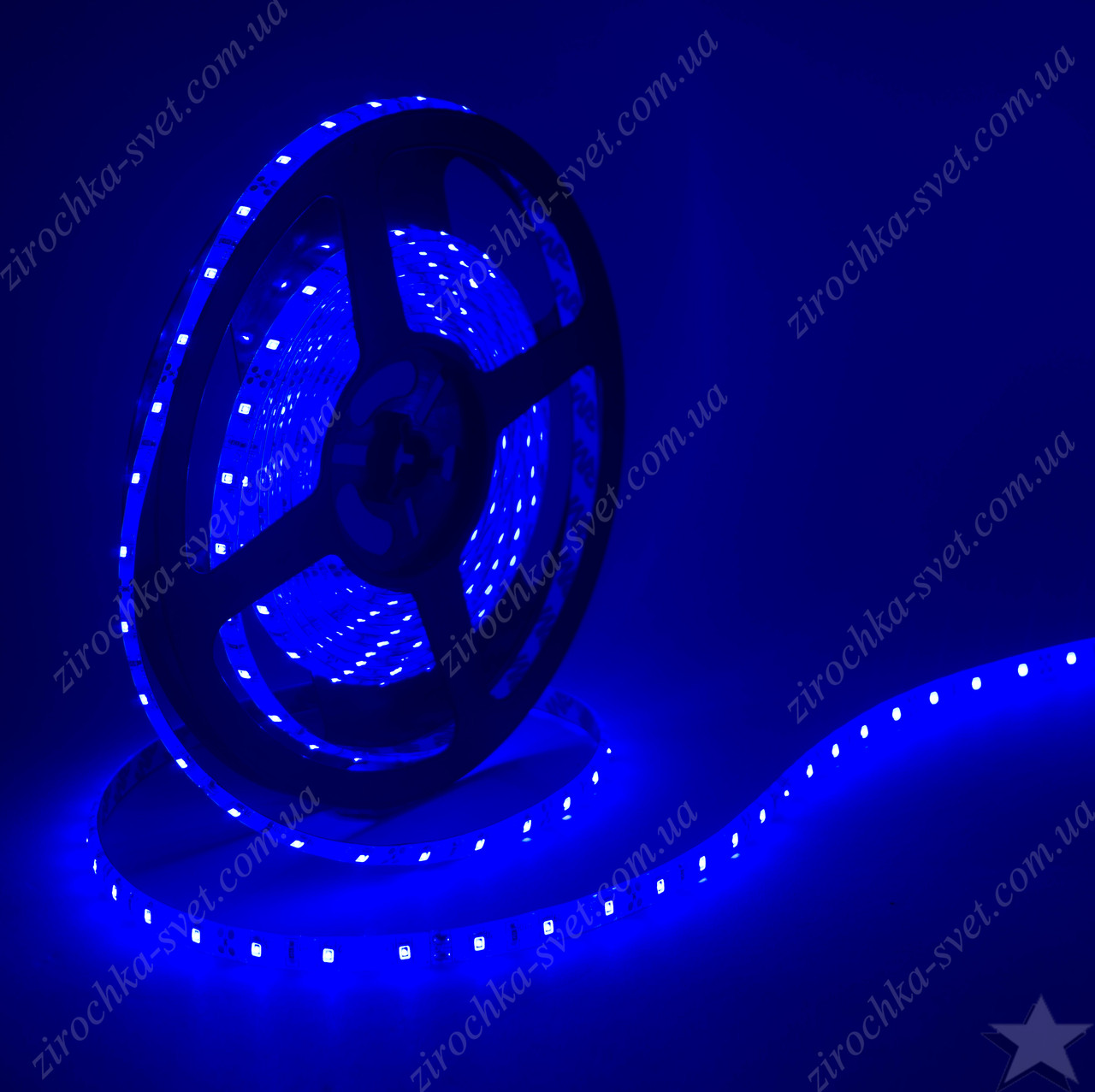 Светодиодная лента синяя 12в 60шт/м smd3528 IP65 влагозащищенная (в силиконе) 4,8 Вт/м Motoko