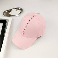 Женская кепка с заклепками розовая, фото 1