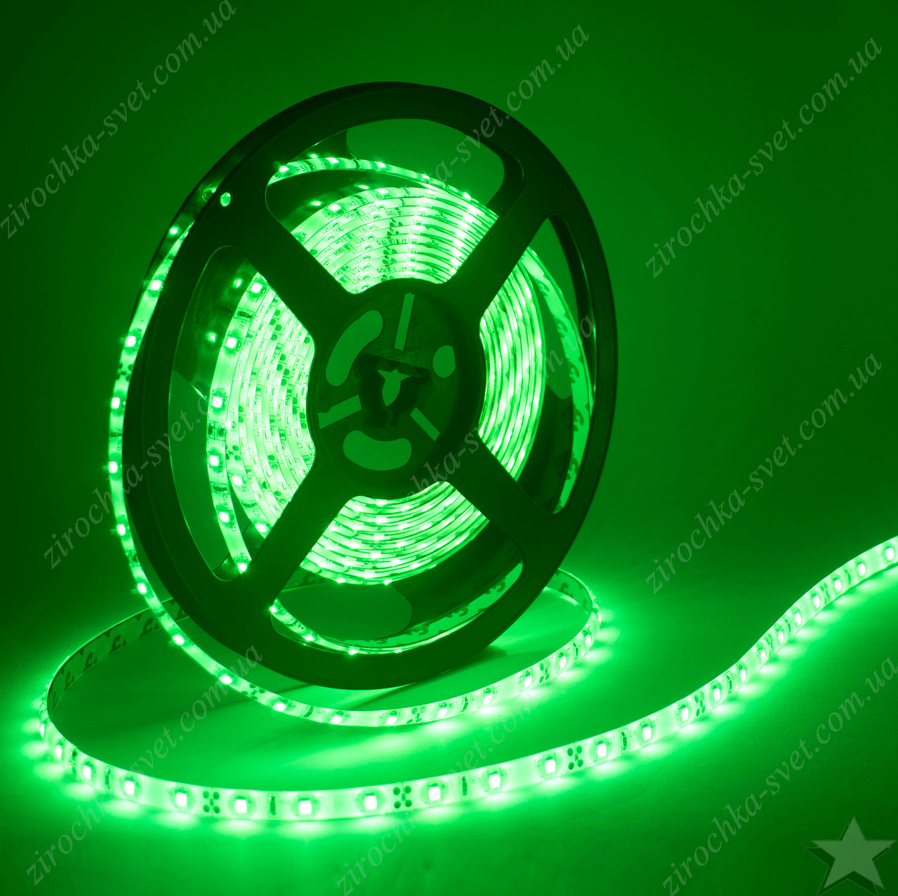 Светодиодная лента зеленая 12в 60шт/м smd3528 IP65 влагозащищенная (в силиконе) 4,8 Вт/м Motoko