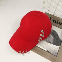 Женская кепка Punk Chain с цепочками красная