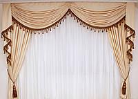 Ламбрекен со шторами  для спальни Вуаля