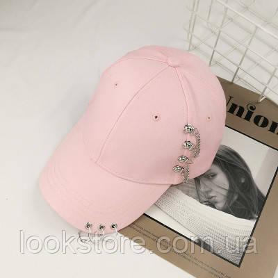 Женская кепка Punk Chain с цепочками розовая