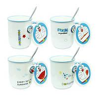 Чашка с ложкой и крышкой 420 мл Кот Дораемон ( кружка для чая )