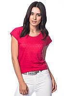 Малиновая женская футболка HAPPINESS с перфорацией