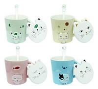Чашка с ложкой и крышкой 420 мл Любимый котик ( кружка для чая )