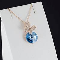 Очаровательный кулон с кристаллами Swarovski + цепочка, покрытые золотом 0895