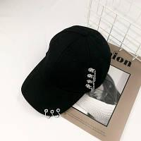 Женская кепка Punk Chain с цепочками черная, фото 1