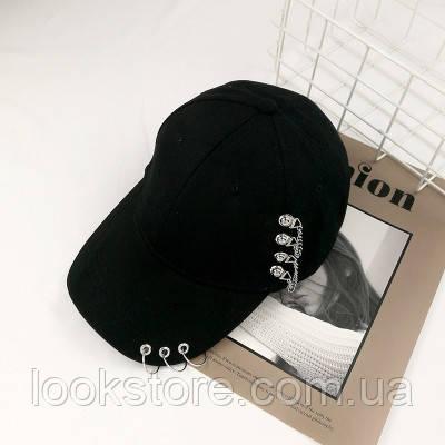 Женская кепка Punk Chain с цепочками черная