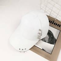 Женская кепка Punk Chain с цепочками белая, фото 1