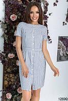 Платье женское короткое из коттона на пуговицах в полоску P10014, фото 1