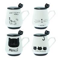 Чашка с крышкой и ложкой 300 мл Черная кошка ( кружка для чая )