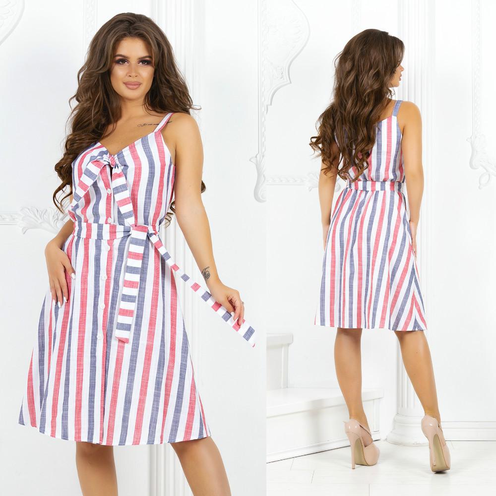 Платье льняное в полоску на бретелях с завязкой на груди на пуговицах и пояс в комплекте