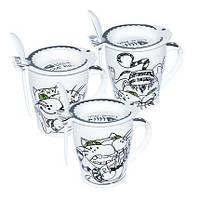 Чашка с крышкой и ложкой 300 мл Фишер-кот ( кружка для чая )