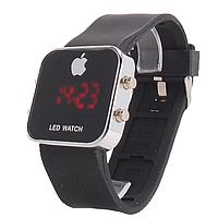 Часы наручные Led Watch с красной  подсветкой на черном ремешке