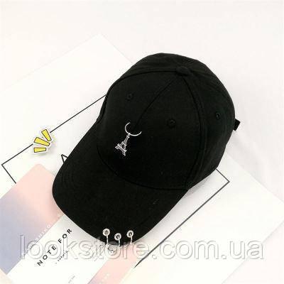 Женская кепка с Эйфелевой башней черная