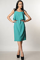 Святковий сарафан вільного силуету нижче коліна 42-52 розміру зелений, фото 1