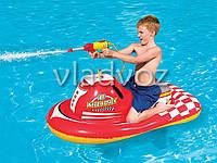 Детский надувной плавательный круг для плавания плотик мотоцикл с водным пистолетом