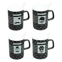 Чашка с ложкой и крышкой 360 мл Джентельмен ( кружка для кофе )