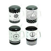 Чашка с ложкой и крышкой 360 мл Морской волк ( кружка для кофе )