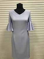 Платье голубое рукав волан