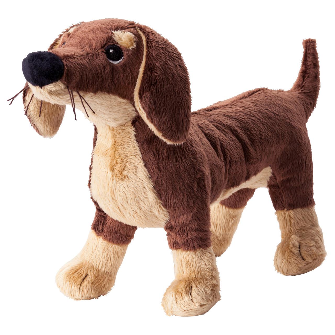 СМОСЛУГ Мягкая игрушка, собака такса, коричневый, 20260445, ИКЕА, IKEA, SMÅSLUG
