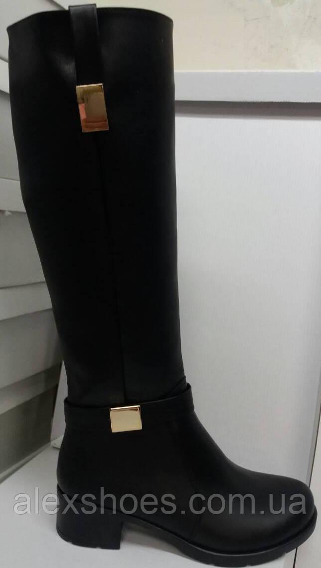 18663d099 Сапоги высокие зимние из натуральной кожи на широком каблуке от  производителя модель