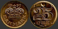 Дания 25 эре 1973г.