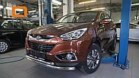 Защита переднего бампера Hyundai IX-35 (2009-2015) (двойная) d60/60