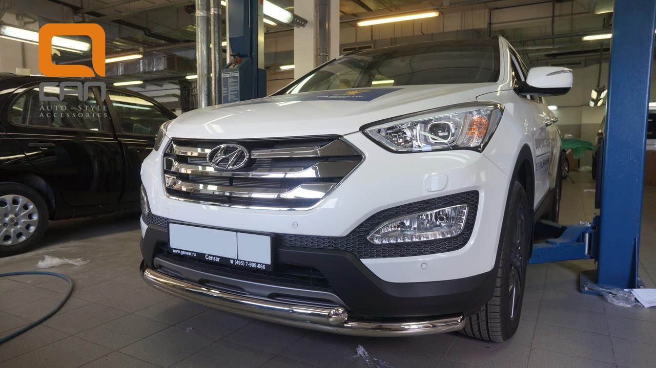 Защита переднего бампера Hyundai Grand SantaFe (2013-) (двойная) d60/60 (несовместима с защитой картера)