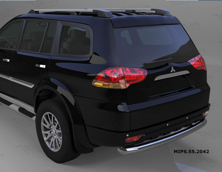 Защита заднего бампера Mitsubishi Pajero Sport (Митсубиши Паджеро) (2008-) (одинарная) d 76