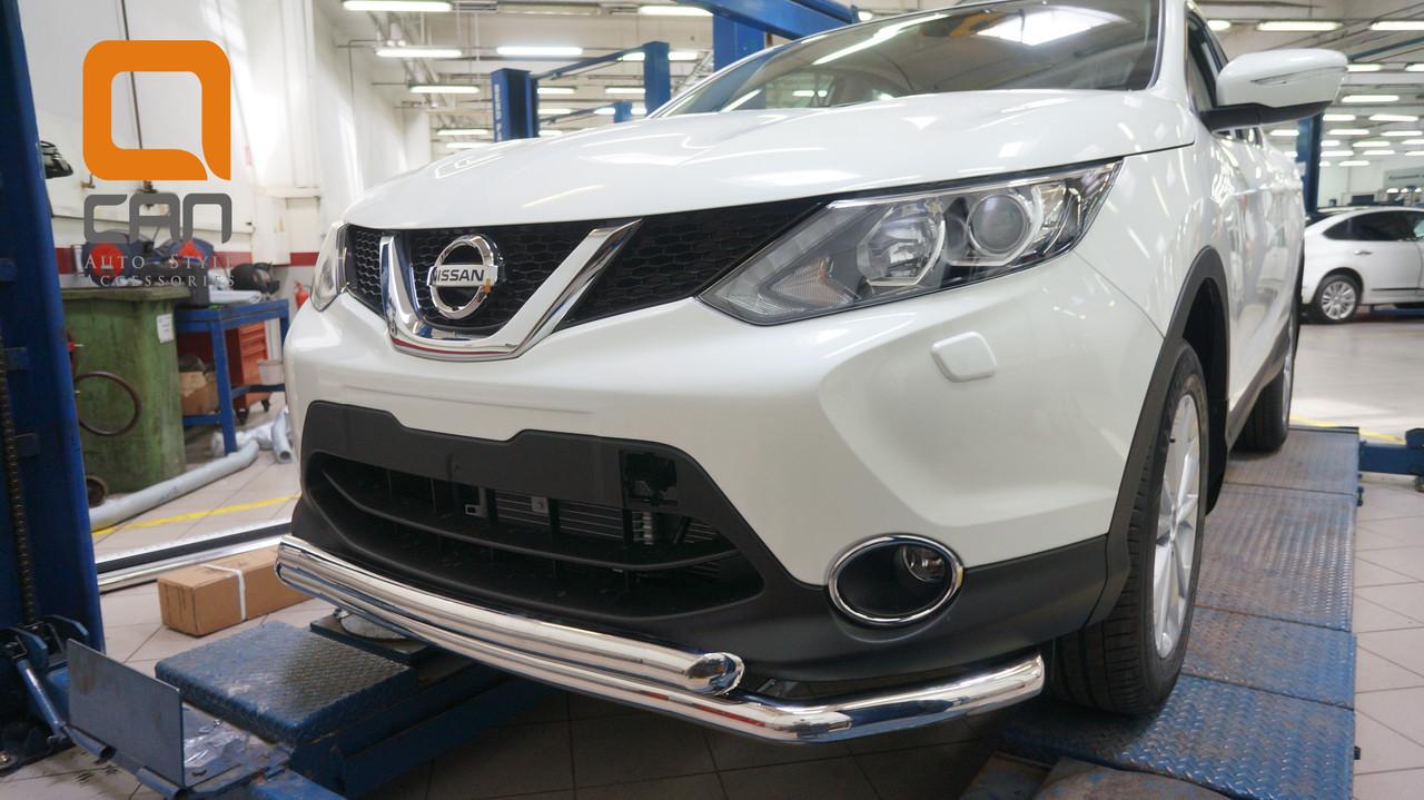 Защита переднего бампера Nissan Qashqai (2014-) (двойная) d60/60 (сборка Англия)