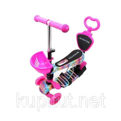 Трехколесный самокат Maraton Fly, с сиденьем, корзинкой, родительской ручкой, для девочки, розовый 3