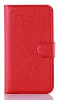 Кожаный чехол-книжка  для Lenovo A2010 красный
