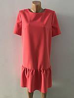 Платье кораловое с воланом, фото 1