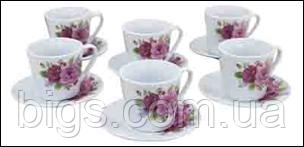 Набор чашек на 6 персон Пионы 125 мл ( чайный сервиз )