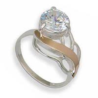 Кольцо из серебра с золотыми вставками, модель 098