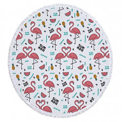 Пляжный коврик круглый Summer Flamingo