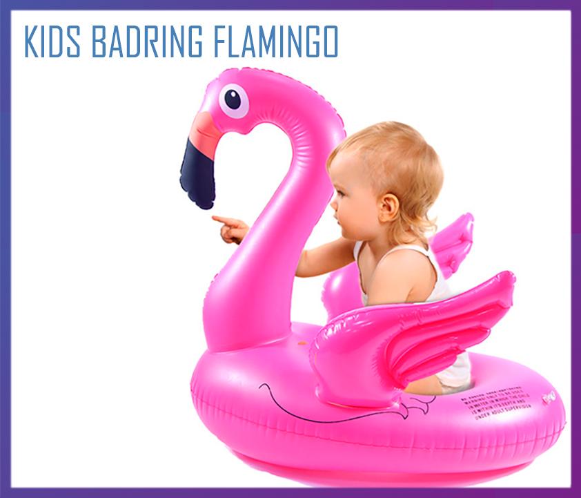 Надувной детский круг розовый фламинго с крыльями