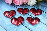 """Аппликация """"Сердце паетка красный +золото"""",  х  см, 25 шт/уп. , фото 1"""