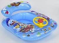 Детский надувной плотик 65х55х30см с рулем и отверстиями для ног (надувной круг, ходунки)