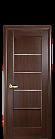 Межкомнатная дверь  Мира ПВХ DeLuxe с матовым стеклом ,цвет каштан