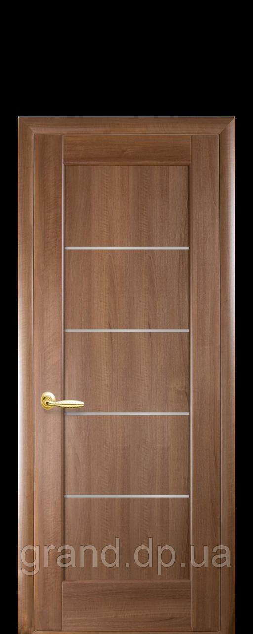 Межкомнатная дверь  Мира ПВХ DeLuxe с матовым стеклом ,цвет золотая ольха