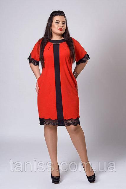 Нарядное деловое платье с карманами, отделка кружево,ткань креп-дайвинг р. 52 красное  (283)
