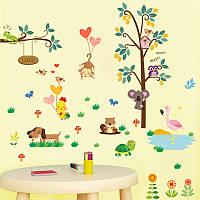 Интерьерная декоративная виниловая наклейка на стену в детскую комнату Дикие джунгли ZY176