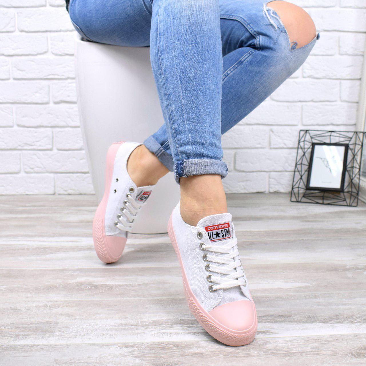 """Кроссовки, кеды, мокасины """"Converse"""" белые, текстиль, на ровном ходу повседневная, спортивная, удобная обувь"""