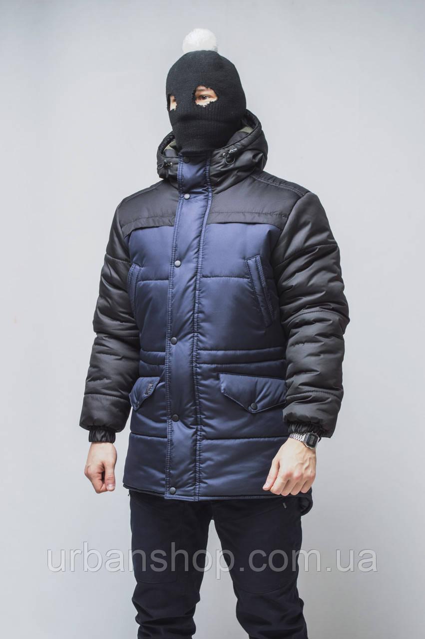 Зимова Чоловіча парка колір чорний з синім бренд ТУР модель Bizon S