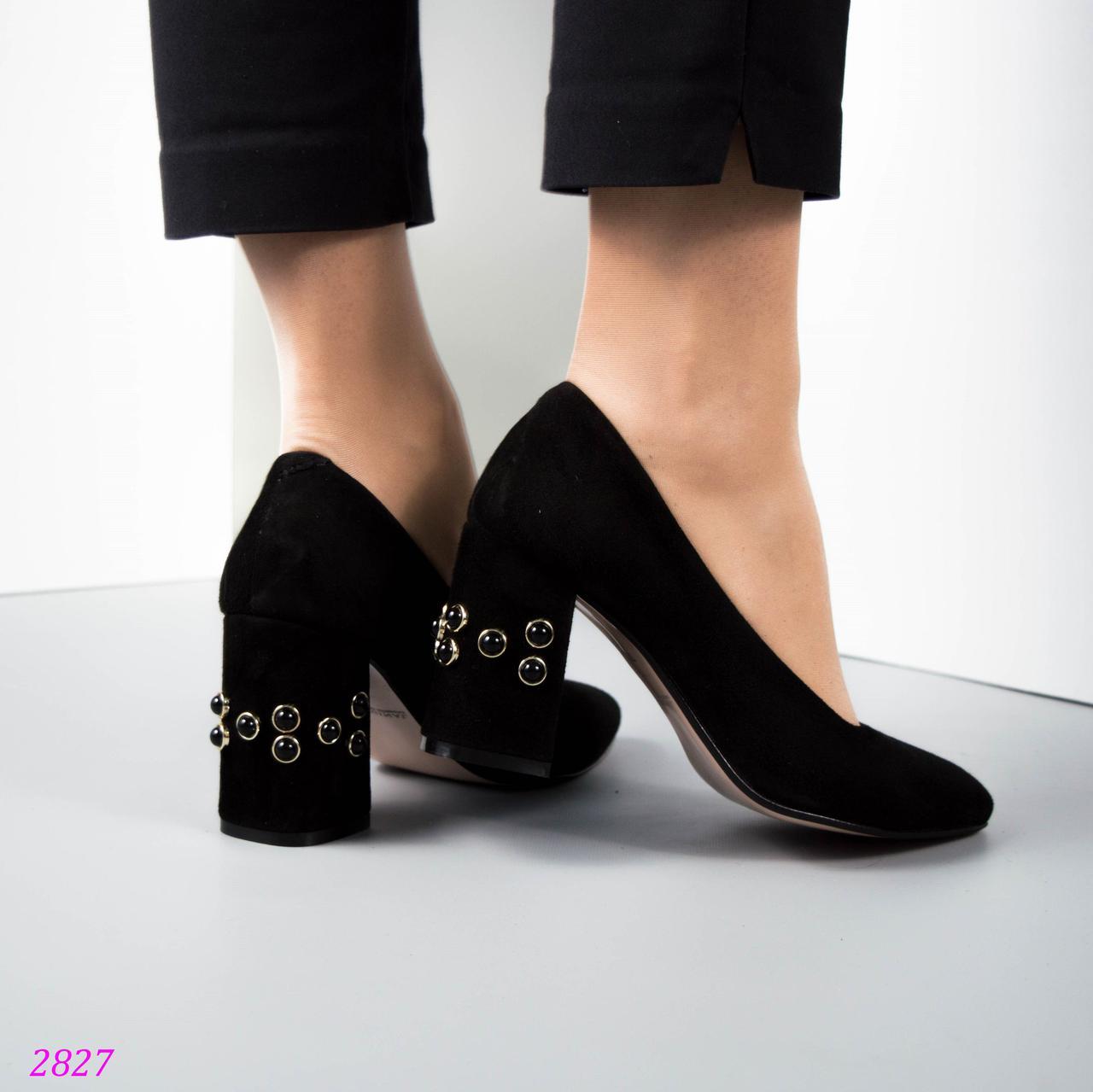 ae244690295 Черные Женские туфли с жемчугом на удобном каблуке СЕРЫЕ натуральная замша  Италия