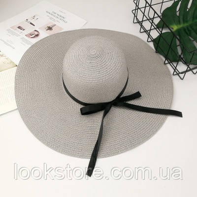 Шляпа женская летняя с широкими полями и лентой серая